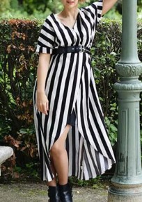 Black-White Striped Draped Front Slit High-Low Casual Maxi Dress