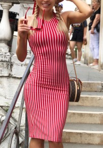 Red-White Striped Halter Neck Lace-Up Backless Cut Out Bodycon Elegant Midi Dress