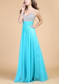 Sky Blue Patchwork Sequin Grenadine V-neck Banquet Elegant Party Maxi Dress