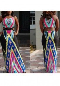 Black Tribal Print Cut Out Draped Off Shoulder Halter Neck High Waisted Bohemian Maxi Dress