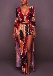 Red Palm Leaf Print Sashes Side Slit High Waisted Deep V-neck Romper with Maxi Overlay