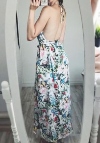 White Flowers Print Sashes Slit Halter Neck Backless Bohemian Maxi Dress