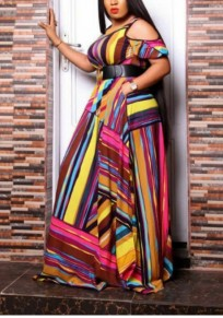 Red Rainbow Striped Pleated Belt Cut Out Party Maxi Dress