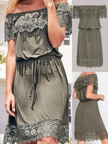 Army Green Patchwork Lace Drawstring Boat Neck Short Sleeve Casual Midi Dress