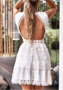 White Lace Cut Out Cascading Ruffle Pleated Cute Homecoming Party Mini Dress
