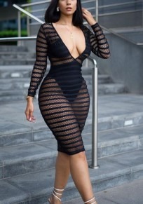 Black Cut Out Sheer Fishnet Bodycon Deep V-neck Long Sleeve Trendy Cocktail Party Midi Dress