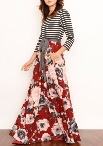 Red Floral Stiped Patchwork Pockets Sashes Beach Party Bohemian Maxi Dress