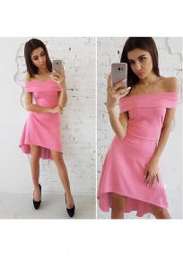 Pink Irregular Boat Neck Short Sleeve Mini Dress