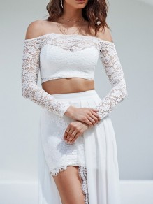 White Lace Ruffle Two Piece Off Shoulder Slit Flowy Elegant Party Maxi Dress