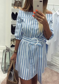 Blue Striped Buttons Sashes Boat Neck Fashion Mini Dress