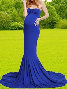 Blue Bandeau Backless Off Shoulder Mermaid Swallowtail Train Photoshoot Baby Shower Maternity Maxi Dress