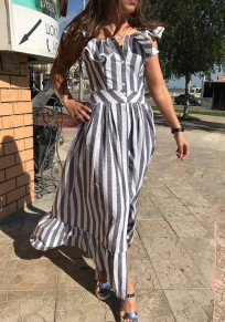 Grey-White Striped Pleated Buttons Ruffle Falbala Shoulder-strap Cute Casual Maxi Dress
