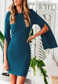Blue Bodycon Slit Bell Sleeve Party Elegant Mini Dress