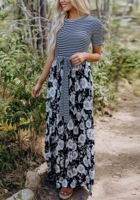 Black Striped Flowers Pockets Sashes Bow Round Neck Maxi Dress