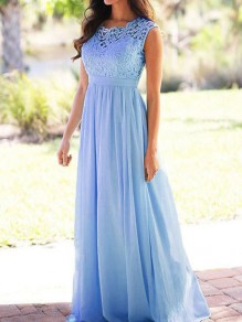 Blue Lace Draped High Waisted Cut Out Draped Elegant Party Maxi Dress