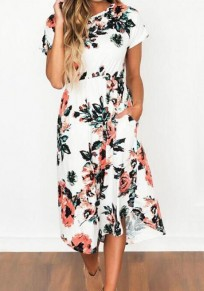 White Floral Print Irregular Pockets High Waisted Flowy Bohemian Midi Dress