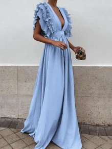 Light Blue Pleated Ruffle Deep V-neck Evening Party Prom Cute Elegant Maxi Dress