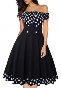 Black Polka Dot Print Draped Off Shoulder Vintage Midi Dress