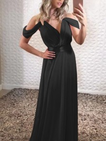 Black Spaghetti Strap Cut Out Sleeve Ruched V-neck Draped Elehant Party Maxi Dress