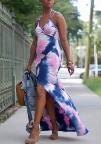Pink Spaghetti Strap Tie Dye V-neck Cross Slit Flowy Beachwear Party Maxi Dress