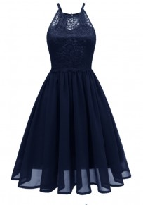Navy Blue Patchwork Condole Belt Lace Cut Out Round Neck Sweet Midi Dress