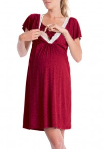 Burgundy Lace V-neck Short Sleeve Cute Maternity Breastfeeding Dress