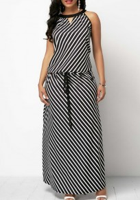 Black-White Striped Drawstring Cut Out Going out Casual Maxi Dress