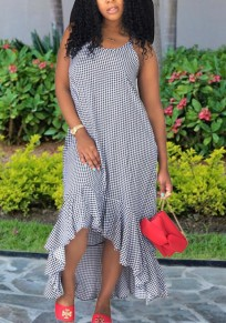 Navy Blue Plaid Spaghetti Strap Pockets Ruffle Draped High-Low Beachwear Casual Maxi Dress