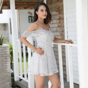 White Floral Condole Belt Cascading Ruffle Boat Neck Casual Mini Dress