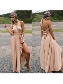 Khaki Plain Belt Ruffle Irregular Fashion Maxi Dress