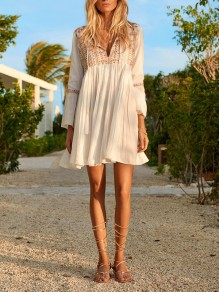 White Pleated Embroidery Cut Out Bell Sleeve Mexican Party Casual Flowy Boho Mini Dress