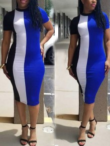 Blue Color Block Bodycon Office Worker Daily Casual Midi Dress