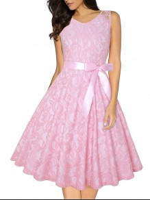 Pink Patchwork Lace Belt Bow Pleated Tutu High Waisted Cute Sweet Homecoming Party Maxi Dress