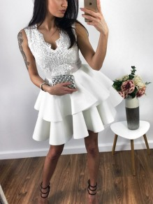 White Patchwork Lace Pleated Ruffle V-neck Tutu Cute Homecoming Party Mini Dress