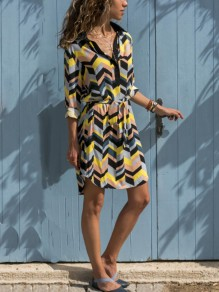 Yellow Geometric Print Sashes Buttons Turndown Collar Fashion Midi Dress