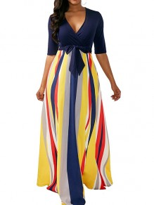 Blue Striped Zipper Bow Print V-neck Elbow Sleeve Maxi Dress