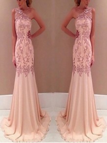 Pink Patchwork Lace Zipper Sleeveless Sweet Maxi Dress