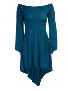 Blue Cut Out Pleated Drawstring Boat Neck Elbow Sleeve Sweet Midi Dress