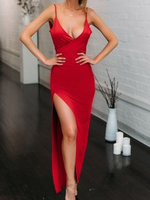 Red Condole Belt Ruffle Backless V-neck Fashion Maxi Dress