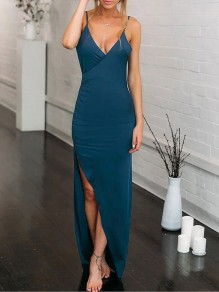 Blue Condole Belt Ruffle Backless V-neck Fashion Maxi Dress