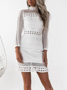 White Patchwork Cut Out Lace Band Collar Long Sleeve Party Mini Dress