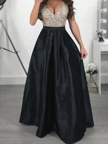 Black Sequin Patchwork Collarless V-neck Fashion Maxi Dress