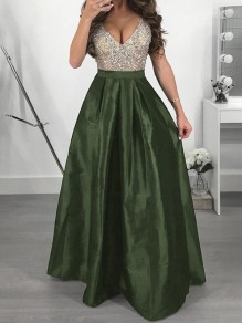 Green Sequin Patchwork Collarless V-neck Prom Evening Party Bridesmaid Fashion Maxi Dress