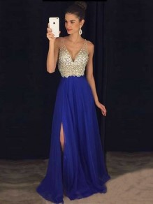 Blue Sequin Patchwork Collarless V-neck Fashion Maxi Dress