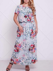 Light Blue Floral Print Draped Elastic High Waisted Round Neck Bohemian Country Maxi Dress