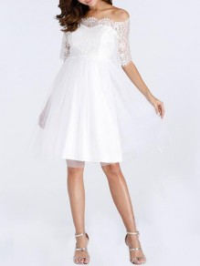 White Patchwork Lace Grenadine Off Shoulder Tutu Skater Homecoming Party Midi Dress