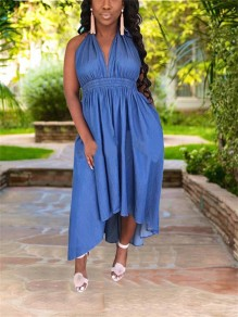 Blue Halter Neck Backless Drawstring Pockets Pleated High-Low Deep V-neck Denim Casual Maxi Dress