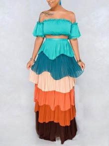 Dark Green Colorful Off Shoulder Cascading Ruffle Two Piece Backless Party Elegant Maxi Dress