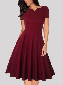 Wine Red Pleated V-neck Short Sleeve Vintage Midi Dress