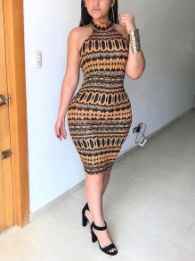 Brown Tribal Print Halter Neck Backless Bodycon Clubwear Bohemian Party Midi Dress
